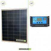 Kit Solare Fotovoltaico 160W 12V Regolatore PWM 10A Nvsolar Camper Casa Nautica Illuminazione