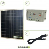 Kit Starter Solare Fotovoltaico 160W 12V Regolatore PWM 20A 12V Epsolar LS2024B con Cavo RS485-USB