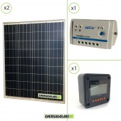 Kit Starter Solare Fotovoltaico 160W 24V  Regolatore PWM 10A 24V Epsolar LS1024B con Display MT-50