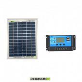 Kit Solare Fotovoltaico 20W 12V Regolatore PWM 10A Nvsolar Camper Casa Nautica Illuminazione