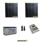 Kit Solare 160W alimentazione Video Sorveglianza 12volt per DVR e 1 Telecamera 24h al giorno