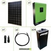 Impianto solare fotovoltaico 600W 48V pannello monocristallino inverter onda pura Edison50 5KW PWM 50A batteria OPZS
