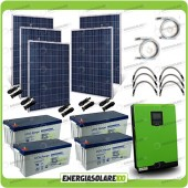 Kit solare fotovoltaico 1.2KW Inverter onda pura Edison30 3000VA 2400W PWM 50A Batterie GEL