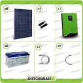 Kit solare fotovoltaico 2KW Inverter onda pura Edison50 5000VA 4000W 48V PWM 50A Batterie GEL