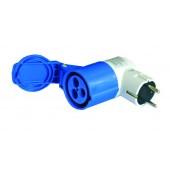 Adattatore 90gradi spina schuko / presa blu CEE - R428