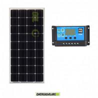 Kit Solare Fotovoltaico pannello 100W Monocristallino Mantenimento batteria 12V auto camper nautica