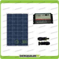 Kit fotovoltaico per  Camper  pannello 100W 12V regolatore di carica doppia batteria REGDUO MC4 Compatibile
