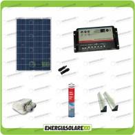 Kit Solare Camper 100W 12V passacavo supporto spoiler colla sigillante regolatore di carica