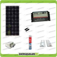 Kit Solare Camper 100W 12V Monocristallino Regolatore Doppia Batteria Accessori