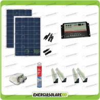 Kit Camper 2 pannelli solari 200W 12V passacavo supporto spoiler colla sigillante regolatore di carica