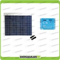 Kit Solare Fotovoltaico 50W 12V Mantenimento batteria auto, camper, moto,nautica