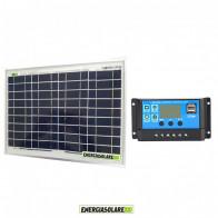 Kit Solare Fotovoltaico 30W 12V Mantenimento batteria auto, camper, moto,nautica