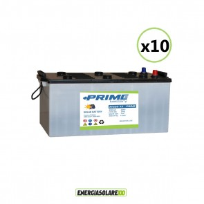 Set 10 Batterie Acido Libero a Piastra Piana AT220 220Ah 12V