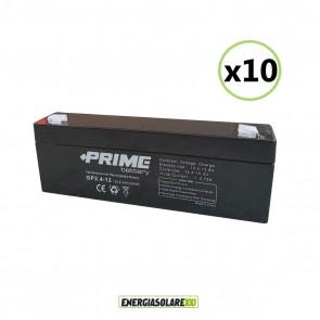 Set 10 Batterie ermetiche AGM Prime 2.4Ah 12V per gruppi di continuità UPS per sistemi di allarme