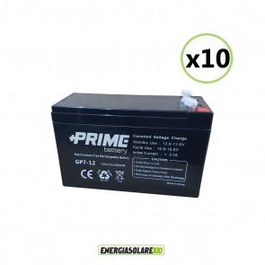 Set 10 Batterie ermetiche AGM Prime 7Ah 12V per gruppi di continuità UPS per sistemi di allarme