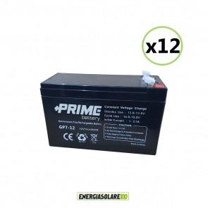 Set 12 Batterie ermetiche AGM Prime 7Ah 12V per gruppi di continuità UPS per sistemi di allarme