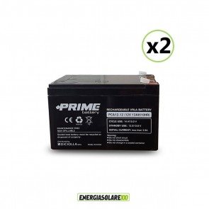 """Set 2 Batterie ermetiche """"Prime"""" da 12V 12Ah Deep Cycle Veicoli Elettrici Impianti Solari"""