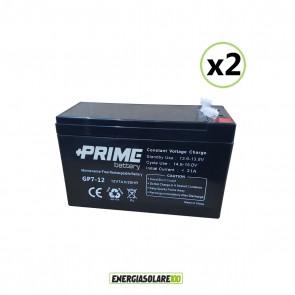 Set 2 Batterie ermetiche AGM Prime 7Ah 12V per gruppi di continuità UPS per sistemi di allarme