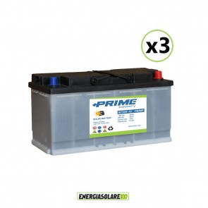 Set 3 Batterie Acido Libero a Piastra Piana AT100 100Ah 12V