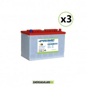 Set 3 Batterie Acido Libero a Piastra Tubolare OP105 105Ah 12V
