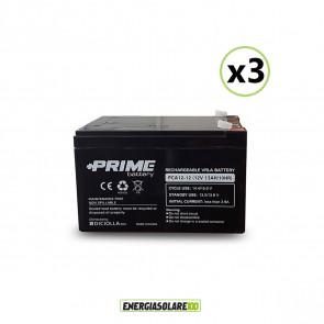"""Set 3 Batterie ermetiche """"Prime"""" da 12V 12Ah Deep Cycle Veicoli Elettrici Impianti Solari"""