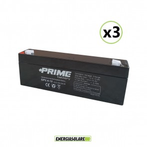 Set 3 Batterie ermetiche AGM Prime 2.4Ah 12V per gruppi di continuità UPS per sistemi di allarme