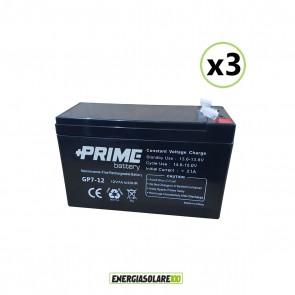 Set 3 Batterie ermetiche AGM Prime 7Ah 12V per gruppi di continuità UPS per sistemi di allarme