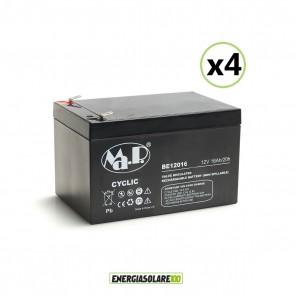 Kit 4 Batterie AGM 64Ah 12V Ermetica Bici Elettriche Bicicletta Elettrica