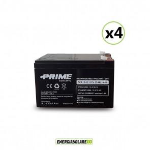 """Set 4 Batterie ermetiche """"Prime"""" da 12V 12Ah Deep Cycle Veicoli Elettrici Impianti Solari"""