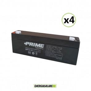 Set 4 Batterie ermetiche AGM Prime 2.4Ah 12V per gruppi di continuità UPS per sistemi di allarme