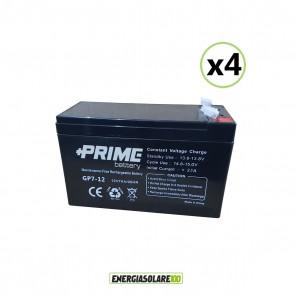 Set 4 Batterie ermetiche AGM Prime 7Ah 12V per gruppi di continuità UPS per sistemi di allarme