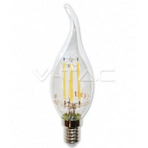 LAMPADINA LED E14 4W CANDELA FIAMMA FILAMENTO - MOD VT-1997 LUCE CALDA