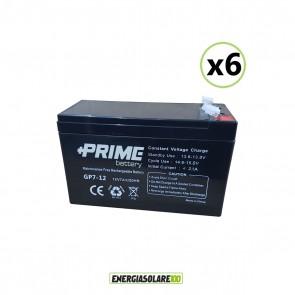 Set 6 Batterie ermetiche AGM Prime 7Ah 12V per gruppi di continuità UPS per sistemi di allarme