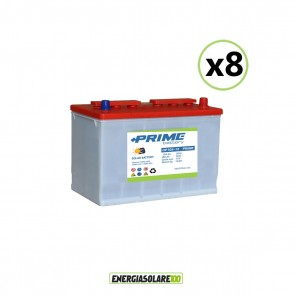 Set 8 Batterie Acido Libero a Piastra Tubolare OP105 105Ah 12V