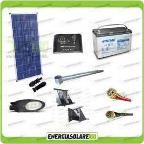 Kit Illuminazione Stradale a Led 25W 12V 100Ah Agm Luce Neutra Pannello Solare