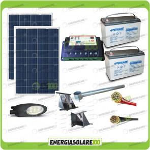 Kit Illuminazione Stradale a Led 42W 12V Batteria 150Ah Agm Luce Neutra Pannello Solare