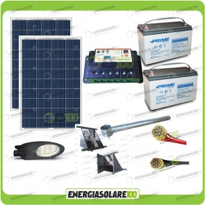 Kit Illuminazione Stradale a Led 42W 12V Batteria 150Ah Agm Luce Fredda Pannello Solare