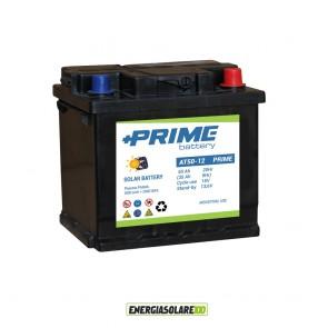 Batteria Solare Prime ad acido libero AT 50Ah 12V Piastra Piana per camper, piccoli sistemi solari, baite