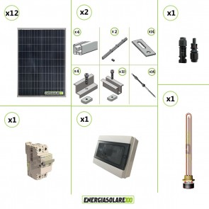 Kit Boiler Solare Elettrico 1000W + kit struttura tetto a falda