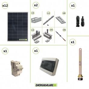 Kit Boiler Solare Elettrico 1200W + struttura tetto a falda calcestruzzo