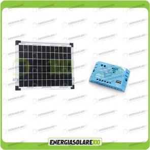 Kit Solare Fotovoltaico Campeggio Scout 10W 12V x alimentare Cellulare Luce e Stereo