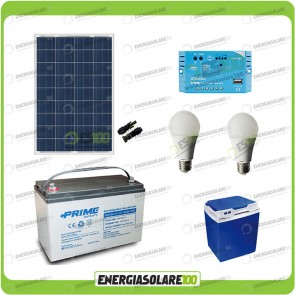Kit Solare Fotovoltaico Campeggio Scout 100W 12V 100Ah Cellulare Luce LED Stereo Frigo