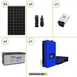 Kit solare fotovoltaico 1200W Pannello monocristallino con Inverter Grid Tie 1kW per connessione alla rete 230V con batterie