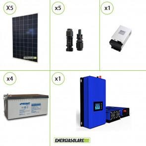 Kit solare fotovoltaico 1250W Pannello extraeuropeo con Inverter Grid Tie 1kW per connessione alla rete 230V con batterie