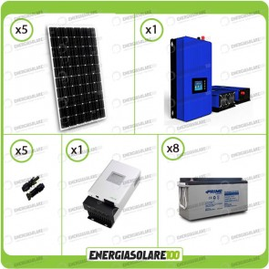Kit solare fotovoltaico 1500W Pannello monocristallino con Inverter Grid Tie 1kW per connessione alla rete 230V con batterie