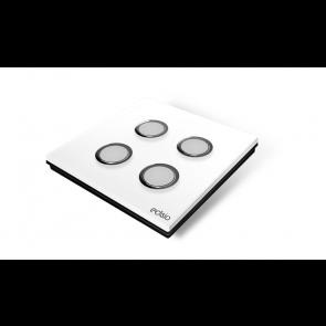 Interruttore wireless - bianco 4 canali base nera Elegance Edisio dimmer illuminazione tapparelle cancelli EFPW-B4