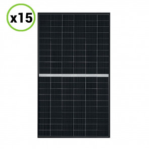 Set 15 Pannelli Solari Fotovoltaico 340W 24V Tot. 5100W Monocristallino 5 BUS BAR