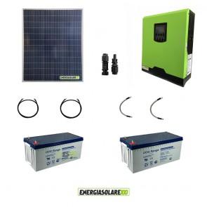 Kit impianto solare fotovoltaico 200W con inverter ibrido ad onda pura 1Kw 12V