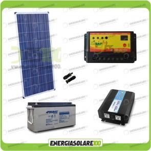 Kit baita pannello solare 150W 12V inverter onda pura 1000W batteria AGM 150Ah