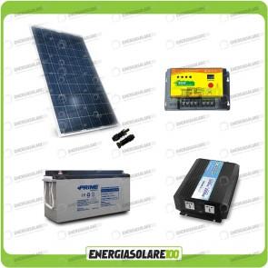 Kit baita pannello solare 200W 12V inverter onda pura 1000W batteria AGM 150Ah regolatore NVSolar